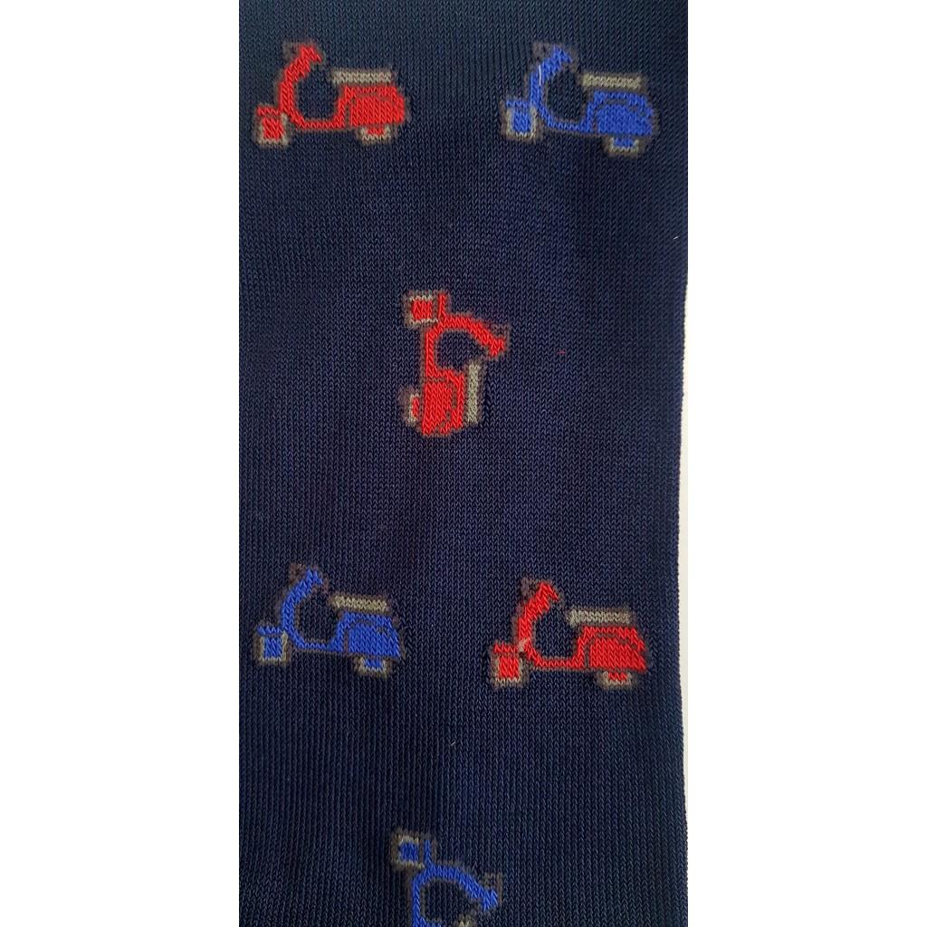 ART.VESPA CALZE LUNGHE IN COTONE MERCERIZZATO FONDO BLU Men's sock long in cotton – ONE SIZE (39-46)