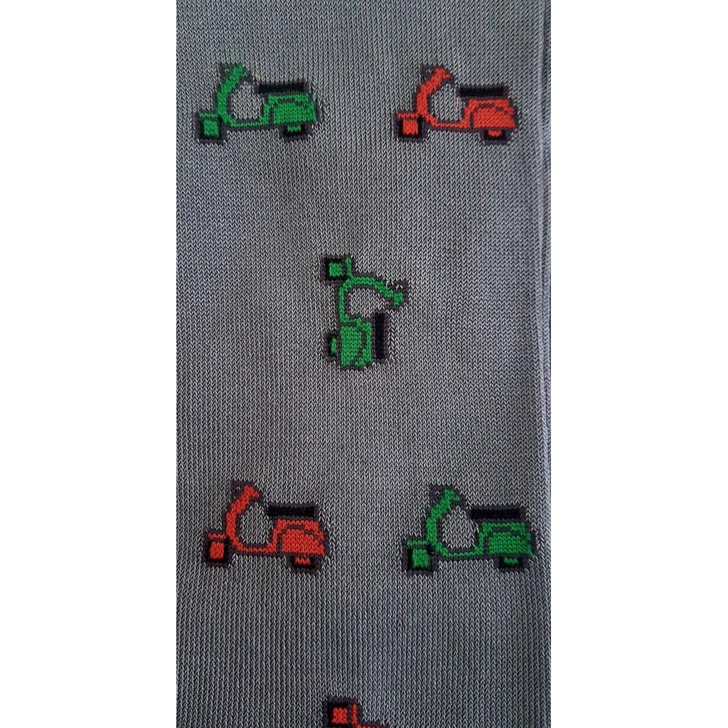 ART.VESPA  CALZE LUNGHE IN  COTONE MERCERIZZATO FONDO GRIGIO Men's sock  long in cotton – ONE SIZE (39-46)