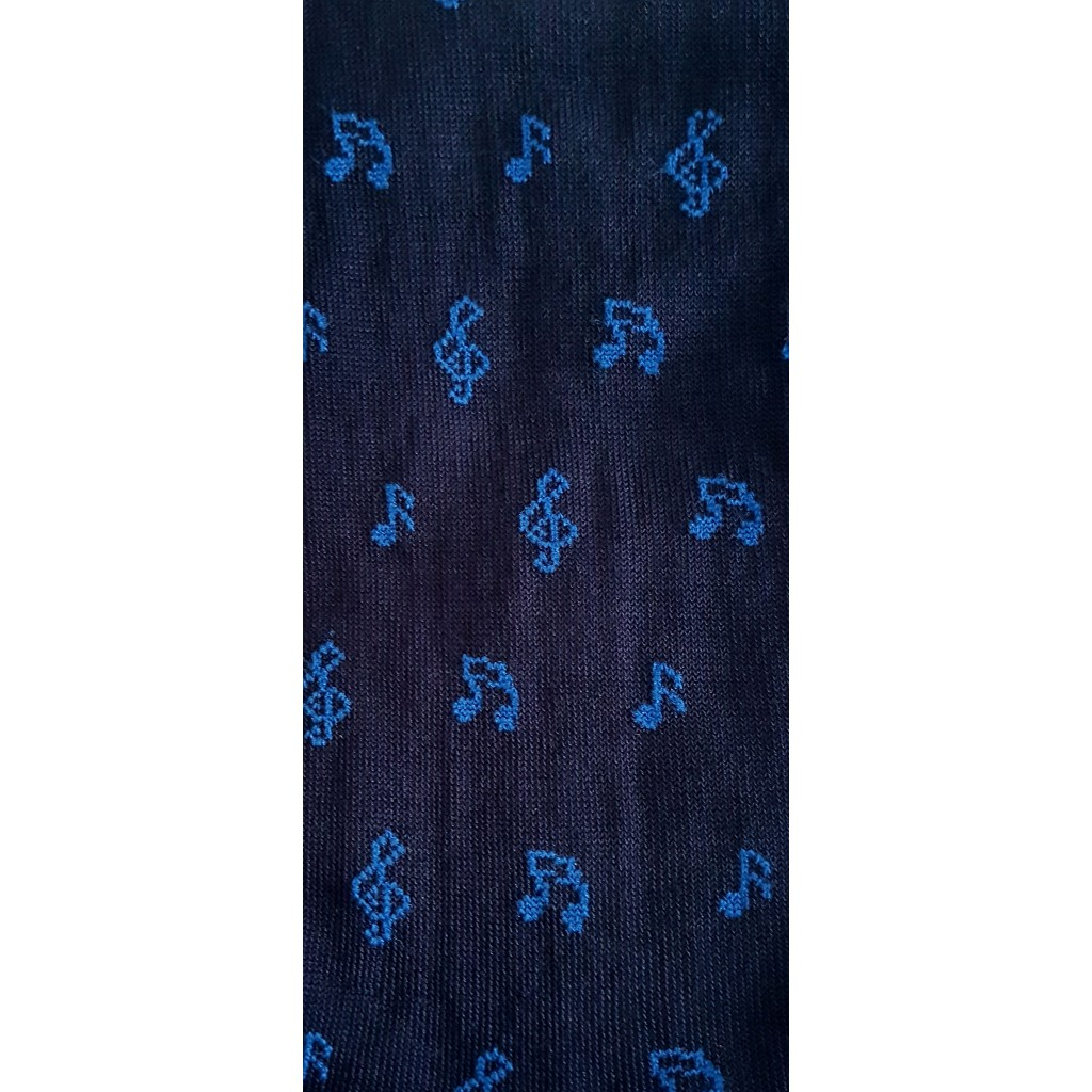 ART.50 NOTE MUSICALI CALZE LUNGHE COTONE FONDO BLU NOTE AZZURRO Men's sock long in summer cotton – ONE SIZE (39-46)