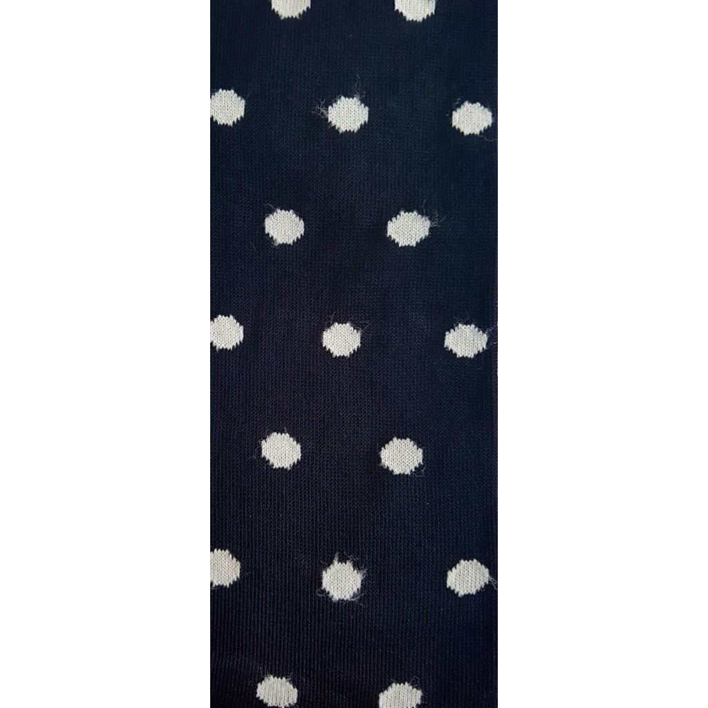 ART.23 CALZE LUNGHE BOLLE COTONE ESTIVO FONDO NERO- BOLLE BIANCO Men's sock long in summer cotton – ONE SIZE (39-46)