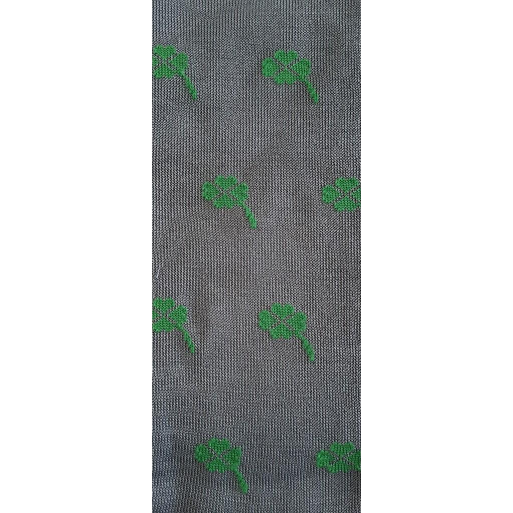 ART.QUADRIFOGLIO FORTUNA CALZE LUNGHE COTONE ESTIVO FONDO GRIGIO/VERDE - Men's sock long in cotton