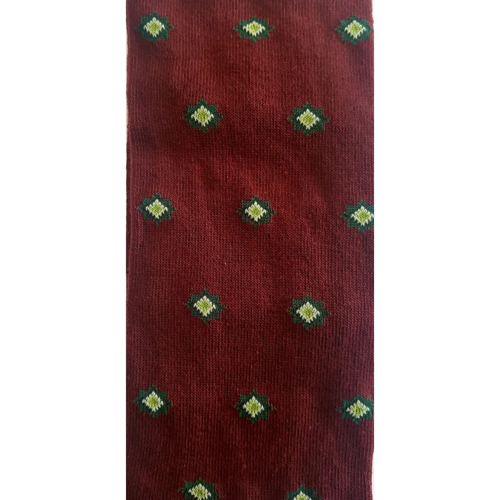 ROMBINI FANTASIA FONDO BORDO/VERDE - Men's sock long in warm cotton