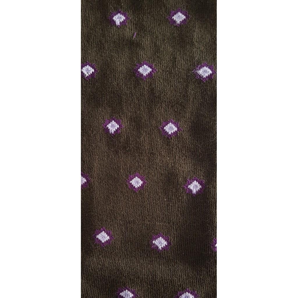 los angeles 25f4c 0a9b2 CALZE UOMO ROMBI FANTASIA FONDO MORO / VIOLA - Men's sock long in warm  cotton - Barbera Calze