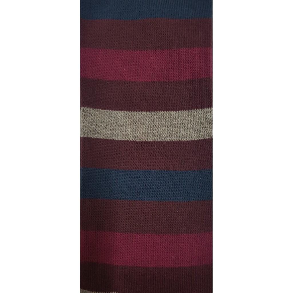 RIGA LARGA CALZA CORTA IN COTONE CALDO FONDO BLU*MARRONE-BORDO -  Sock  SHORT  in Warm  cotton – ONE SIZE (39-46)