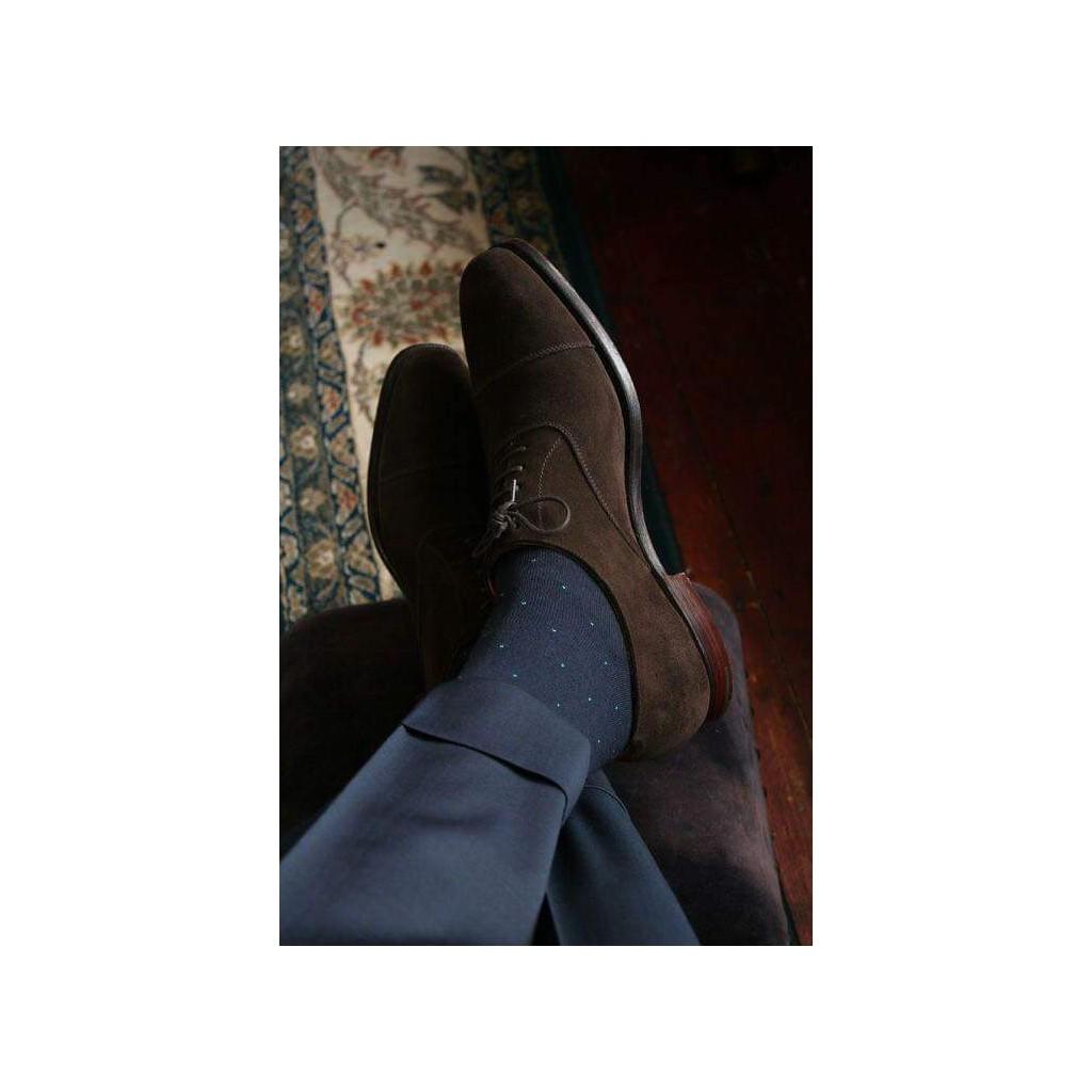 ART. PUNTA SPILLO CALZE LUNGHE   COTONE ESTIVO  FONDO BLU PUNTINI BIANCO Men's sock  long in Summer cotton