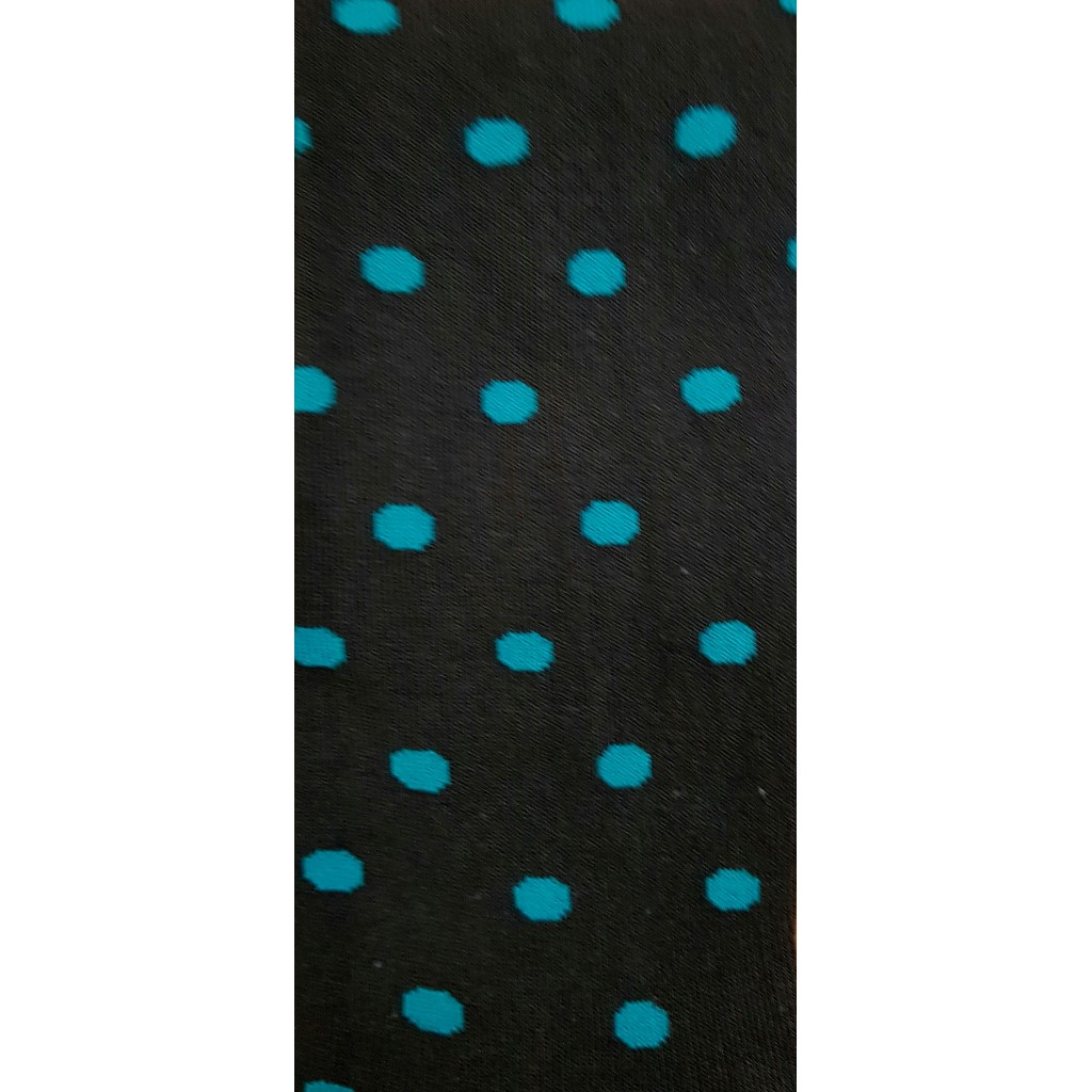 Art.23 Calze lunghe in caldo cotone Fondo Blu bolle giallo