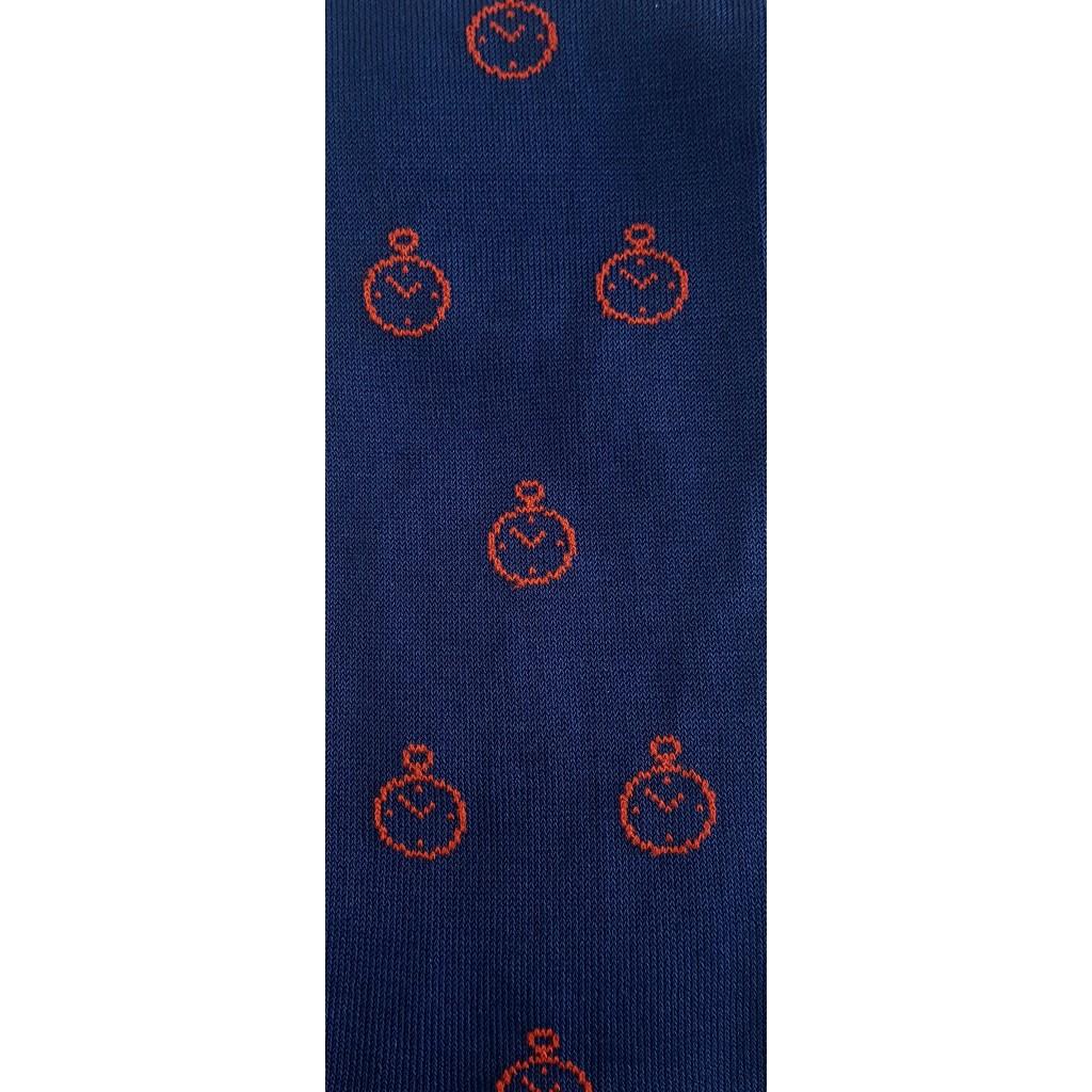 ART.SVEGLIA CALZE LUNGHE COTONE ESTIVO FONDO BLU CHIARO/ROSSO Men's sock long in Summer cotton
