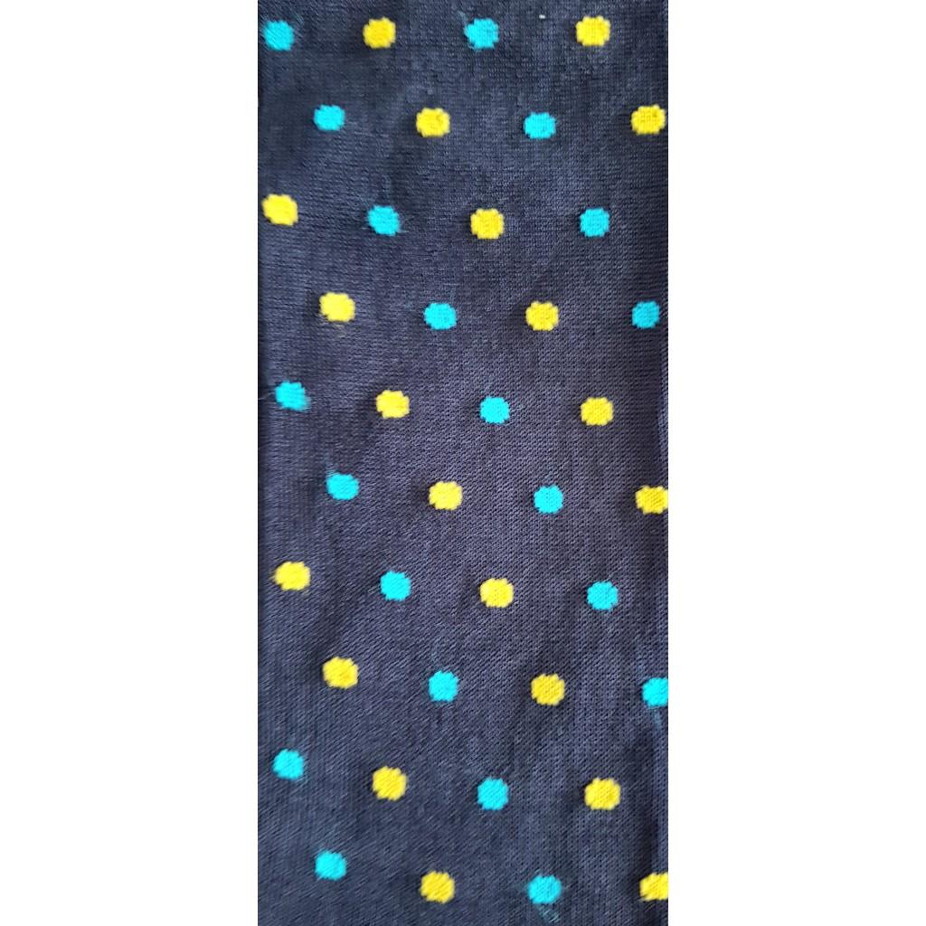 ART.28 CALZE  POIS  LUNGHE COTONE ESTIVO FONDO  BLU POIS BIANCO/AZZURRO Men's sock  long in summer cotton – ONE SIZE (39-46)